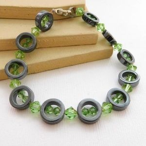 Jewelry - Lime Green Crystal Hematite Ring Bead Bracelet